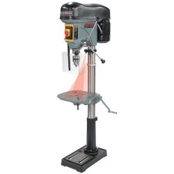 New King 17″ long stroke drill press with safety guard KC-119FC-LS